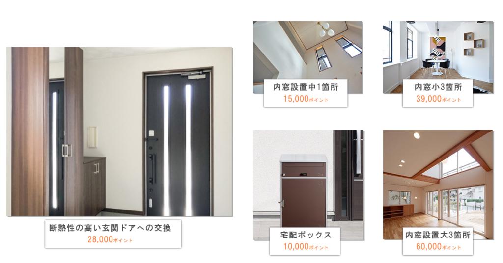 断熱性の高い玄関ドアへの交換・内窓の設置・内窓の設置・宅配ボックス設置の目安ポイント数